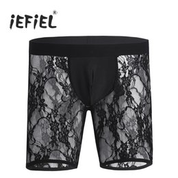 Wholesale iEFiEL Hot Sexy Black Mens Lingerie Soft See through Floral Lace Boxer Shorts Underwear Underpants Soft Tight fitting Panties