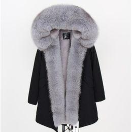 $enCountryForm.capitalKeyWord NZ - hot sale MAOMAOKONG Brand Grey raccoon fur trim hoody Threshold fashion ladies snow coats grey fox and rabbit fur lined black long parka