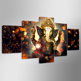 $enCountryForm.capitalKeyWord Australia - Lord Ganesh Statue,5 Pieces The Latest Most Popular High-definition Canvas Printed Home Decorative Art  Unframed   Framed