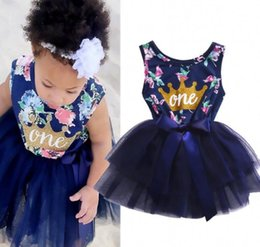 $enCountryForm.capitalKeyWord Canada - 2018 Summer Baby Girls Dress Cute Floral Printed Knee-Height Tutu Sleeveless Big Bow Dresses Cottone Lace Yarn Skirt Princess Party Dress