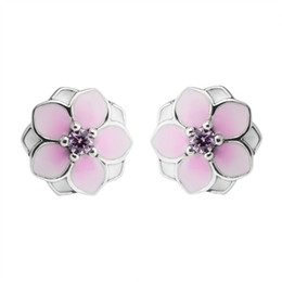 $enCountryForm.capitalKeyWord Australia - 2018 Summer New Magnolia Bloom Floral Stud Earrings Original Authentic 925-Sterling-Silver Pale Cerise Enamel & Pink Crystal Flowers Earring