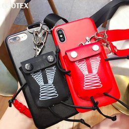 $enCountryForm.capitalKeyWord UK - wholesale Fashion Girls Card Pocket Case For iPhone XS Max XR X 6 6s 7 8 Plus Coin Purse PU Leather Back Cover Case With Neck Strap