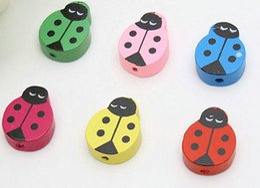 $enCountryForm.capitalKeyWord Canada - 100pcs Mixed Colors Ladybug Shape Wood Beads Lot Craft Kids Jewelry Making 15MM