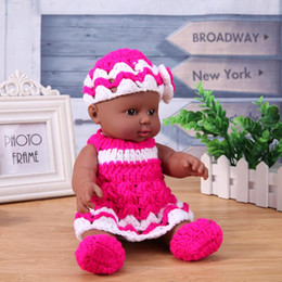 $enCountryForm.capitalKeyWord NZ - 30cm Reborn Baby Doll Toy Soft Vinyl Silicone Lifestyle Kindergarten African Dolls with Rose Red Knit Dress for Children Gift