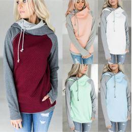 slim double zipper hoodies jackets 2019 - Womens Hoodies Double Color Zipper Stitching Hoodies Women Long Sleeve Patchwork Pullover Winter Women Jacket Sweatshirt