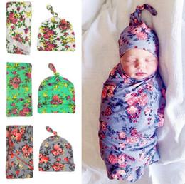 $enCountryForm.capitalKeyWord NZ - Newborn fashion baby swaddle blanket baby sleeping swaddle muslin wrap hat baby blanket+hat 2pcs set infant photograph props 9 colors