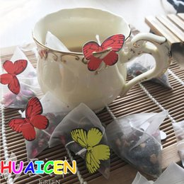 Discount heat label - New Empty Nylon Tea Bag With String Heat Seal Filter Paper Herb Loose Tea Bags infuser Strainer Butterfly label 1000pcs