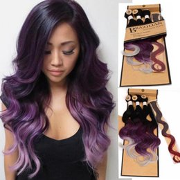 grey hair extensions sale 2019 - Brazilian Body Wave Bundles With Closure for Women Ombre Color Synthetic Hair Extensions purple Bluish Grey 3Tone 4pcs p