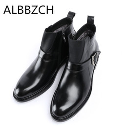 Discount desing fashion - New arrival natural cow leather men winter boots super warm mens snow boots shoes fashion buckle luxury brand desing ank