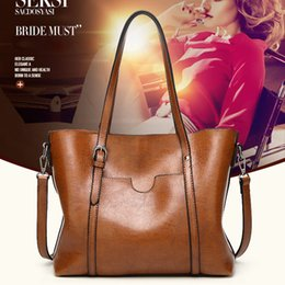 Discount case american - Women European And American Style Wax Leather Handbag Vintage Shoulder Bags Shopping Case New