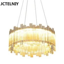 Steel Porch Australia - LED Crystal Chandelier Light for Aisle Porch Hallway Stairs Crystal Ring dining light wth LED Light Bulb 24w 20w 100% Guarantee