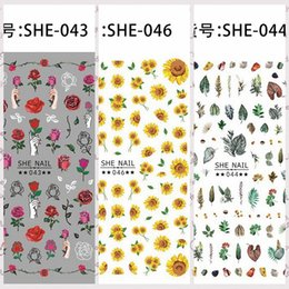 Wholesale 1 Sheet Beautiful Rose Daisy Floret Flowers Leaves Design Adhesive Nail Art Stickers Decorations DIY Tips SHE37
