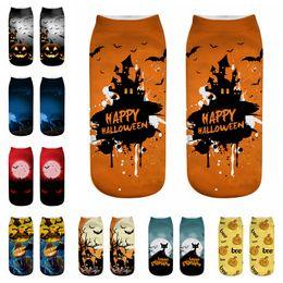 Ankle decorAtion online shopping - Halloween Short Socks D Printing Cat Pumpkin Printed Socks Children Cotton Funny Halloween Low Ankle Socks Party Favor GGA876 pairs