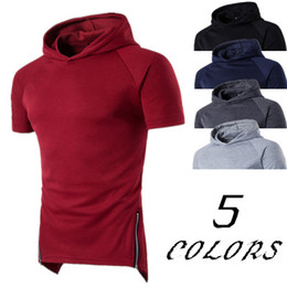 design sports t shirts Australia - Men Raglan Hooded Longline Top Summer Sport Style Design Male Solid Hooded Loose T Shirt Large Size Casual Wear