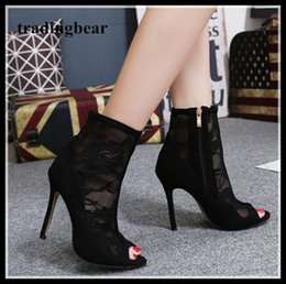 Black Ladies Shoe Canada - Fashion black mesh embroider peep toe thin heel bootie sexy ladies shoes size 35 to 40