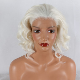 Discount big white wigs - Lace Front Wigs Mixed White Color Synthetic Lace Front Wig Long White Replacement Full Wig Silky Straight Heat Resistant