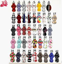 $enCountryForm.capitalKeyWord NZ - Colorful Key Chain Lipstick KeyRing Holder Blanks Neoprene Holder Baseball Softball Stripe Printing Lipstick Cover Case Party Favor