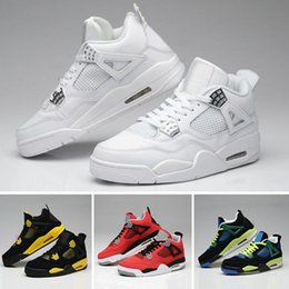 best website a386c f140d nike air Jordan 4 aj4 retro 4 Eminem Encore Pure Geld White Zement Royalty  Gezüchtet Toro Bravo Donnergrün Glow Schuhe 4 s Mens Basketball Turnschuhe
