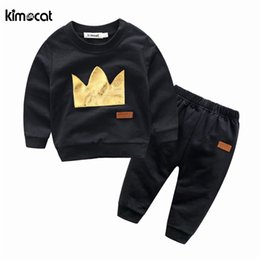 $enCountryForm.capitalKeyWord NZ - Kimocat spring and autumn sweater suit long sleeve sweater+pants Crown printing sport set baby boy clothes casual baby clothing
