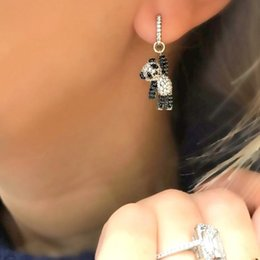 $enCountryForm.capitalKeyWord Australia - 2018 girl gift jewelry lovely cute animal charm dangle earring micro pave cz black white dog bear charm adorable earrings