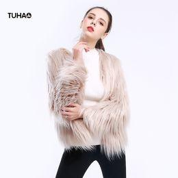 White Faux Fur Shorts Australia - TUHAO Faux Fur Coat 2018 Short Style Long Sleeve Long Fur Fluffy Jacket Women Tops Casual Outerwear Overcoat TFW077