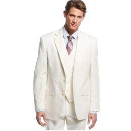 Linen suits groom beach wedding online shopping - Ivory Men Suits Beach Wedding Tuxedos Groom Wear Pieces Jacket Pants Vest Slim Fit Casual Bridegroom Suits Best Man Blazer