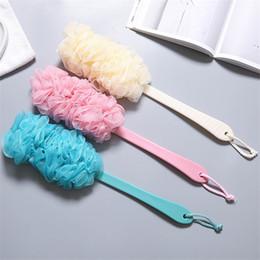 Shower Sponge Handle Australia - Soft Cleaner Back Exfoliation Shower Brushes Ball Body Clean Sponge Brush Long Handle Bath Brush Shower Scrubber Sponge Balls
