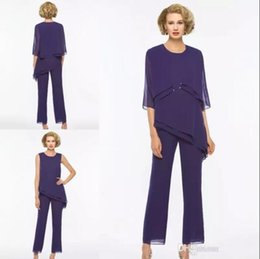 00019b604908 Party wear gowns sleeve PurPle color online shopping - Three Pieces Mother  Of The Bride Pant