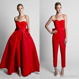 $enCountryForm.capitalKeyWord Canada - Krikor Jabotian Red Jumpsuits Evening Dresses With Detachable Skirt Sweetheart Strapless Satin Guest Dress Prom Gowns