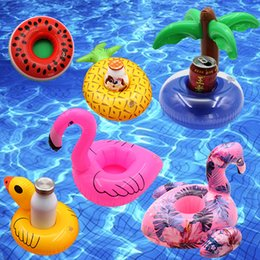 Inflatable Bath Kids NZ - Float Flamingo Inflatable Drink Cup Holder for Swimming Pool Air Mattresses Pineapple Donut for Cup Kids Bath Toy Free Shipping