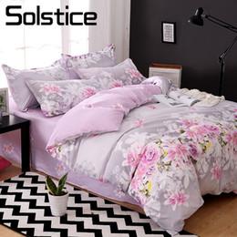 $enCountryForm.capitalKeyWord Canada - Solstice Home Textile King Full Bed Linen Suit Purple Flower Duvet Cover Flat Sheet Pillowcase Girl Teen Adult Woman Bedding Set