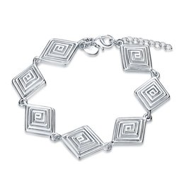 $enCountryForm.capitalKeyWord NZ - Brand new!Rhombus thread Bracelet 925 silver bracelet JSPB549;low price girl women sterling silver plated Charm Bracelets