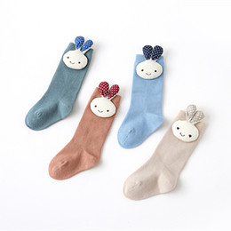 7d8b8c77dca Baby Tube Ruffled Stockings Girls Uniform Knee High Socks Infants and  Toddlers Cotton Pure Color Cartoon Cute Rabbit socks A9978