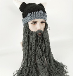34dec928c00 Halloween Funny Men s Winter Hat Barbarian Vagabond Viking Beard HatS Horn  Handmade Mustache Braid Beanie Warm Wool Knitting Caps Mask cap