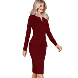Vfemage Women Winter Elegant Front Zip Up Pleated Ruched Peplum Long Sleeve  Wear to Work Office Business Party Sheath Dress 8348 D18110906 4fea07350e3a