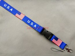 Wholesale New p about USA and England s flag design has become lanyard Keychain Key Chain ID Badge ipod cell phone holder lanyard Neck band