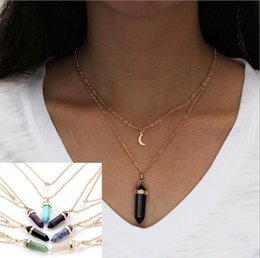 double layer necklaces 2019 - Hot Natural Stone Moon Charms Pendant Double Layers Gold Chain Bullet Hexagonal prism Necklace Druzy Drusy Necklace Jewe