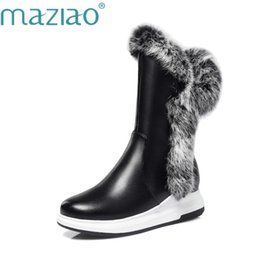 Wholesale MAZIAO Animal Fur Women Snow Boots Flat Heels New Winter Cotton Shoes Woman With Zipper Black White Thick Plush Round Toe
