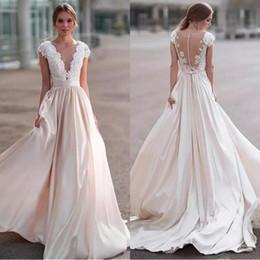 zipper back satin wedding dresses 2019 - 2018 Luxury Lace Wedding Dresses Sheer Neck Cap Sleeves Satin Ribbon Illusion Back Country Wedding Dresses Beach Bridal