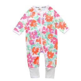 $enCountryForm.capitalKeyWord Australia - 2018 print flowers Newborn Boy Girl Coverall Spring Autumn Cotton Floral Jumpsuit Baby Long Sleeve Zipped Kids Clothes Baby Romper