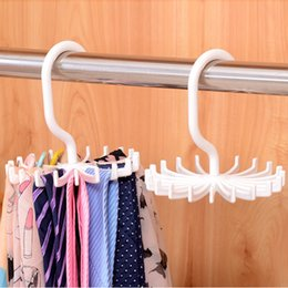 "Tied Scarves NZ - Portable 4.3"" Plastic 6 Colors Tie Rack Closets Rotating Hook Holder Belts Scarves Hanger Clothing Organizer"
