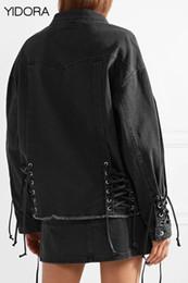 $enCountryForm.capitalKeyWord Canada - Fall Winter 2018 Women Female Dark Gray Denim Jean Jacket Outerwear With Frayed Tassels Hem & Eyelets With Shoestring Lace-up