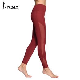 Discount white nylon pants - Sexy Women Yoga Sports Tights Nylon Pants Fitness Mesh Waist High Push Up Breathable Soft Strech Running Gym Slim Leggin