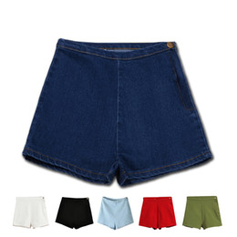 a42599630e Woman's Summer High Waist Denim Shorts Slim Ripped Skinny Hot Tight A Side  Button Pom Jeans Short