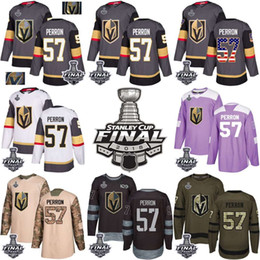 bdc2ec99cbe 2018 Vegas Golden Knights Stanley Cup Final 57 David Perron Gray USA Flag  Fashion Purple Fights Cancer Practice Gold Hockey Jerseys