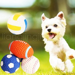 $enCountryForm.capitalKeyWord NZ - 4 Styles Dog Squeak Chew Ball Toys S L Pet Durable Latex Balls Interactive Toy for Puppy Dogs Rugby Football Puppy Teething Chew Toys AAA627