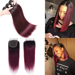 $enCountryForm.capitalKeyWord Australia - New Arrive Peruvian Burgundy Hair Weave With Closure Straight Two Tone Ombre 1B 99J Wine Red Human Hair Bundles And Lace Closures