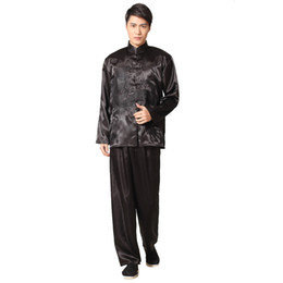 $enCountryForm.capitalKeyWord UK - Hot Sale Black Chinese Men's Satin Rayon Kung Fu Suit Vintage Embroidery Dragon Tai Chi Wushu Uniform Size S M L XL XXL M051-1