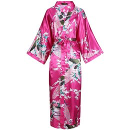 classic sleepwear UK - Classic Print Peacock Satin Women Wedding Robes Autumn Long Sleepwear Sexy Rayon Oversize 3XL Nightwear Kimono Robe Bath Gowns