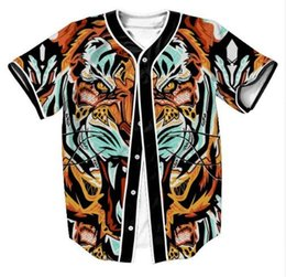 styling t shirt jersey NZ - Hot Style 3D Print Animal Tiger Fashion Baseball Jersey T Shirt Summer Short Sleeved Button Cardigan Baseball Uniform Tops Tees